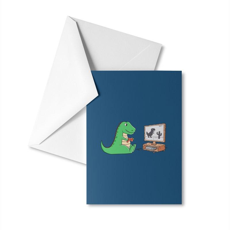 Dinosaur Gaming Accessories Greeting Card by coffeeman's Artist Shop