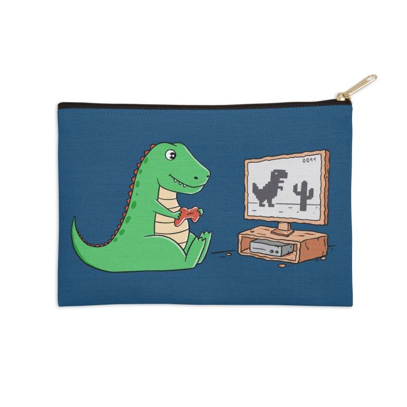 Dinosaur Gaming Accessories Zip Pouch by coffeeman's Artist Shop