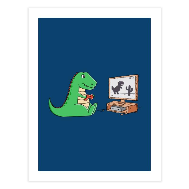 Dinosaur Gaming Home Fine Art Print by coffeeman's Artist Shop
