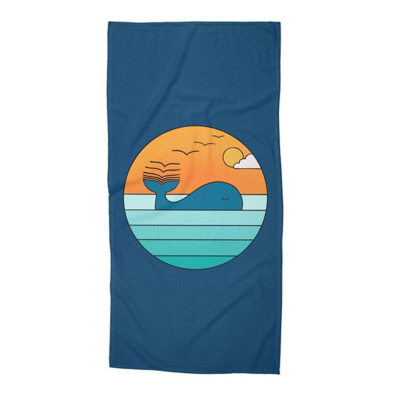 Nature whale birds Accessories Beach Towel by coffeeman's Artist Shop