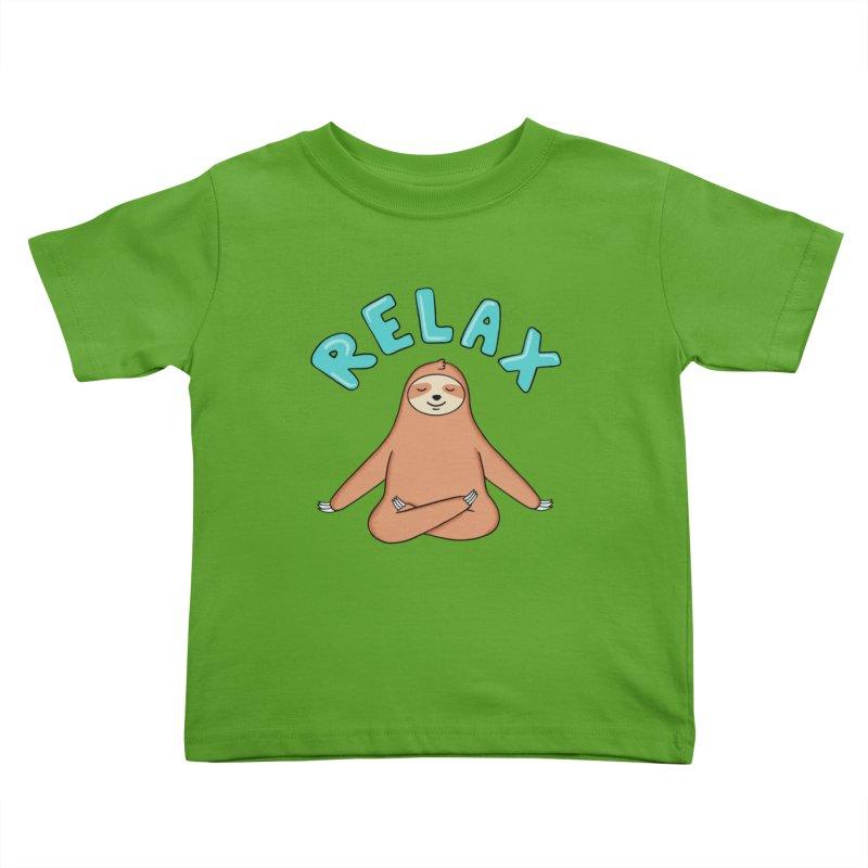 Sloth Relax Yoga Kids Toddler T-Shirt by coffeeman's Artist Shop