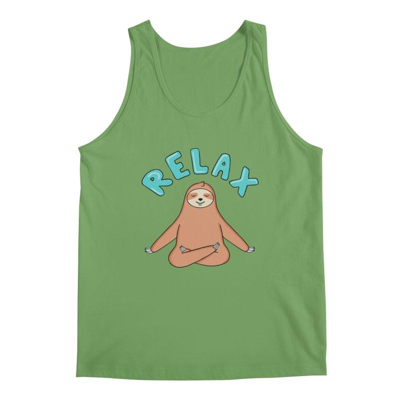 Sloth Relax Yoga Men's Tank by coffeeman's Artist Shop