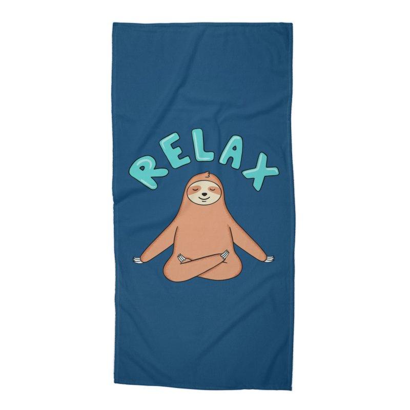 Sloth Relax Yoga Accessories Beach Towel by coffeeman's Artist Shop