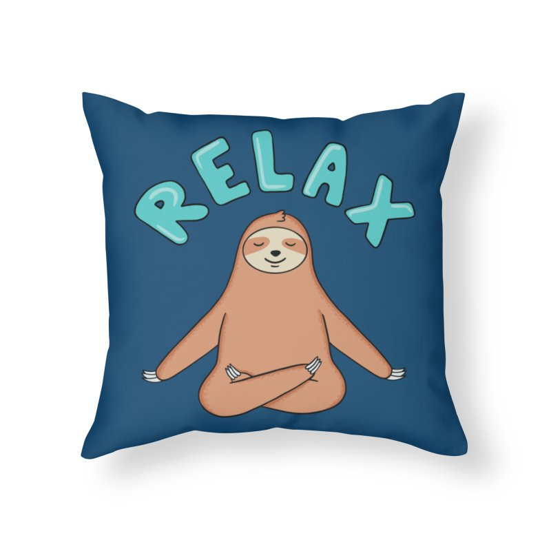 Sloth Relax Yoga Home Throw Pillow by coffeeman's Artist Shop