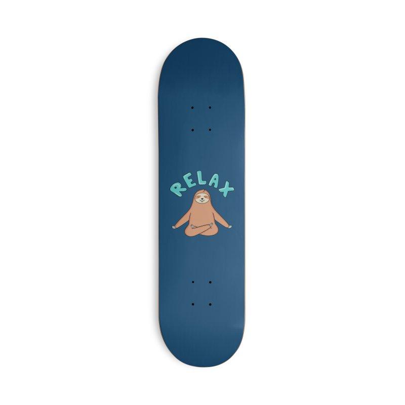 Sloth Relax Yoga Accessories Skateboard by coffeeman's Artist Shop