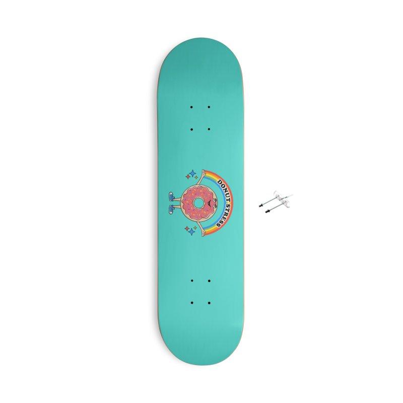 Funny Donut Stress Accessories Skateboard by coffeeman's Artist Shop