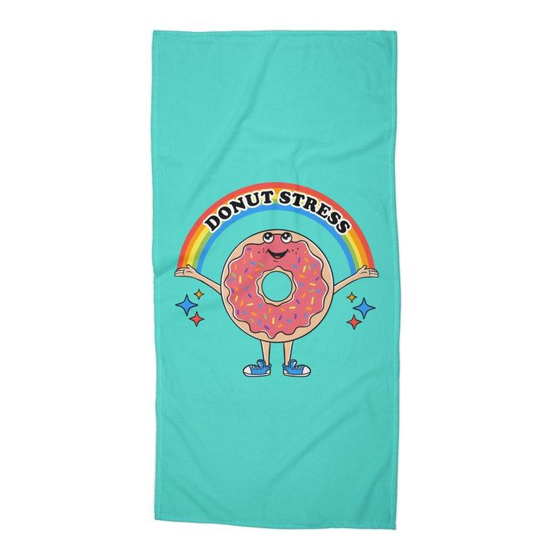 Funny Donut Stress Accessories Beach Towel by coffeeman's Artist Shop