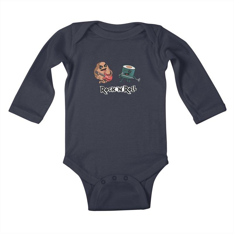 Funny Rock and Rock Kids Baby Longsleeve Bodysuit by coffeeman's Artist Shop