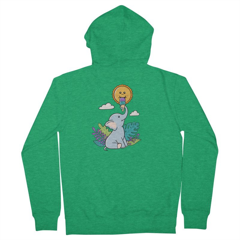 Funny Elephant and sun Women's Zip-Up Hoody by coffeeman's Artist Shop