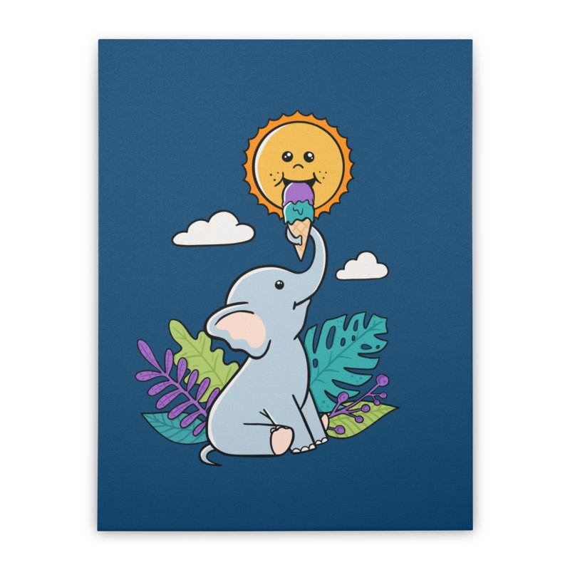 Funny Elephant and sun Home Stretched Canvas by coffeeman's Artist Shop