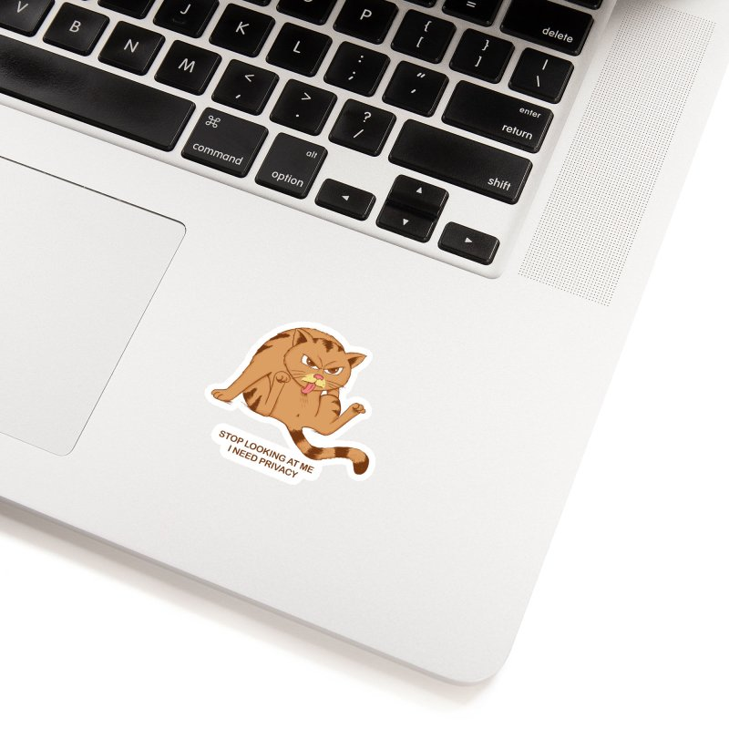Cat I need Privacy Accessories Sticker by coffeeman's Artist Shop