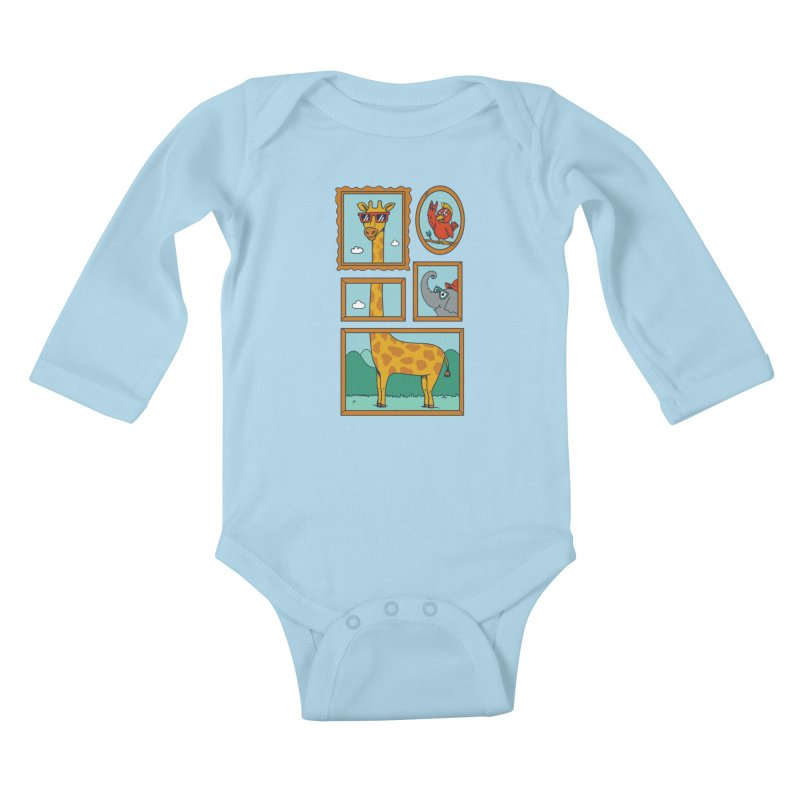 Animals Kids Baby Longsleeve Bodysuit by coffeeman's Artist Shop