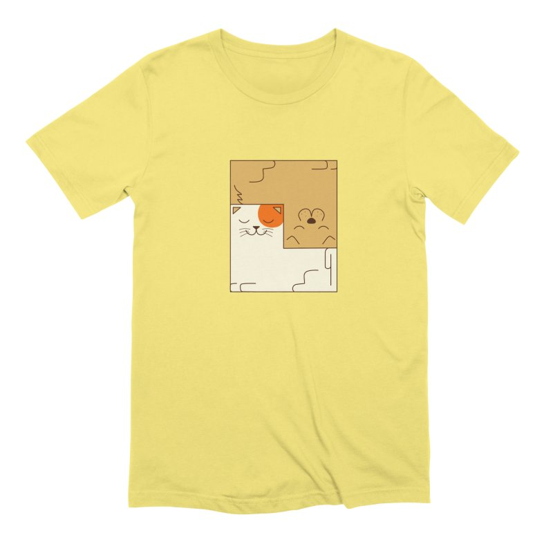 Cat and Dog Men's Extra Soft T-Shirt by coffeeman's Artist Shop