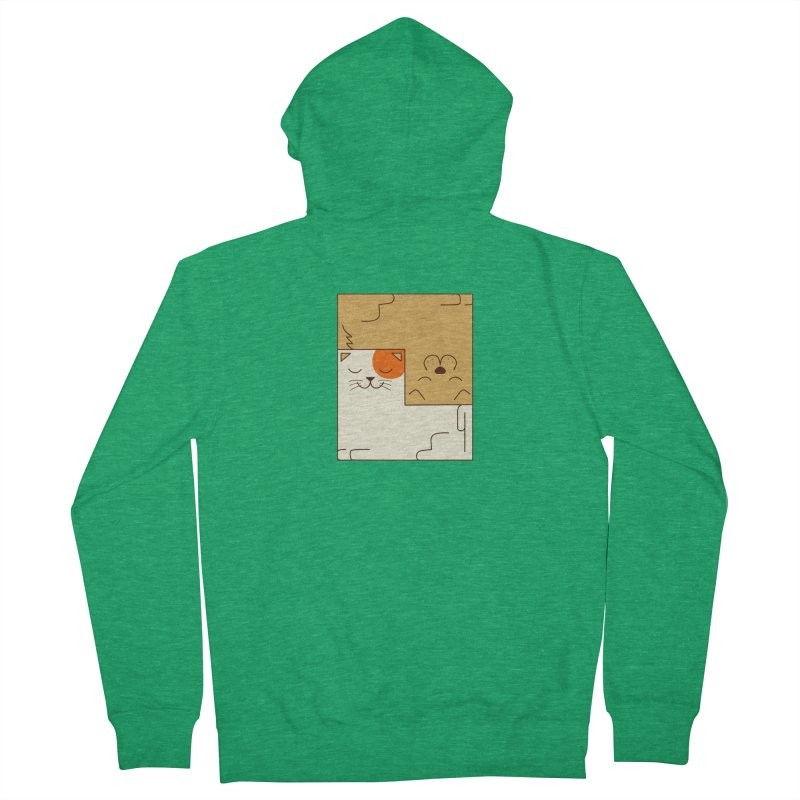 Cat and Dog Women's French Terry Zip-Up Hoody by coffeeman's Artist Shop