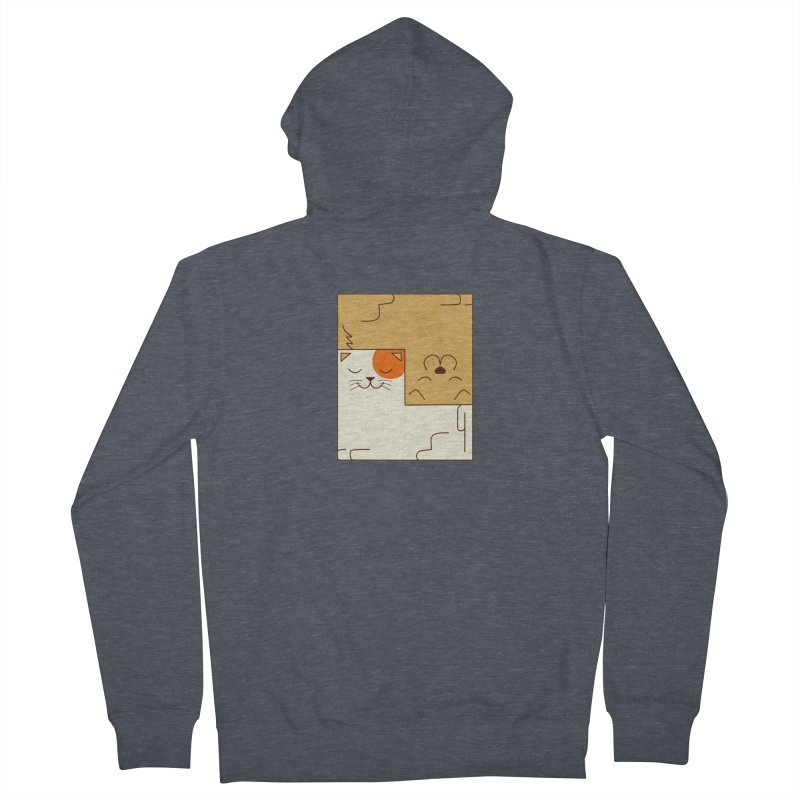 Cat and Dog Men's French Terry Zip-Up Hoody by coffeeman's Artist Shop