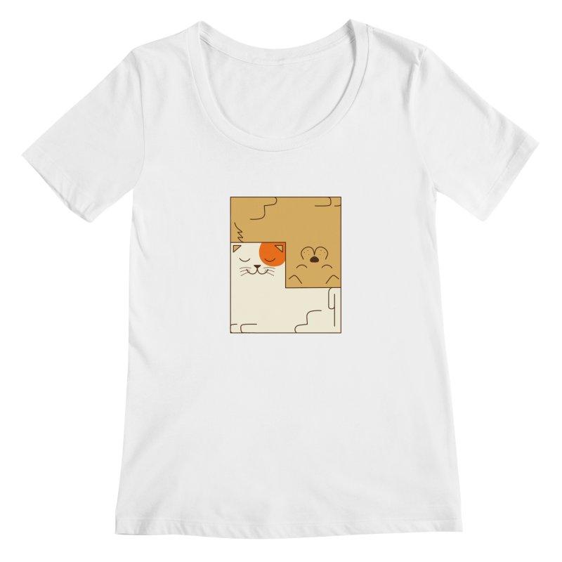 Cat and Dog Women's Regular Scoop Neck by coffeeman's Artist Shop