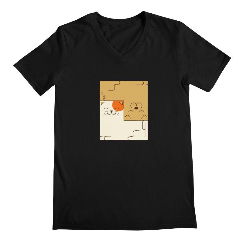 Cat and Dog Men's Regular V-Neck by coffeeman's Artist Shop