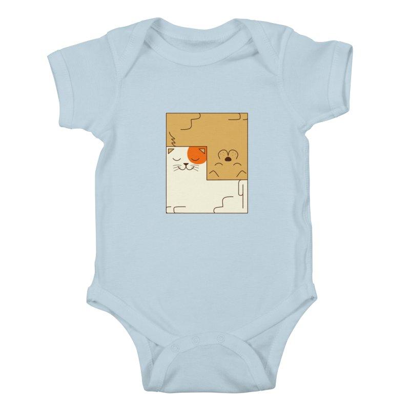 Cat and Dog Kids Baby Bodysuit by coffeeman's Artist Shop