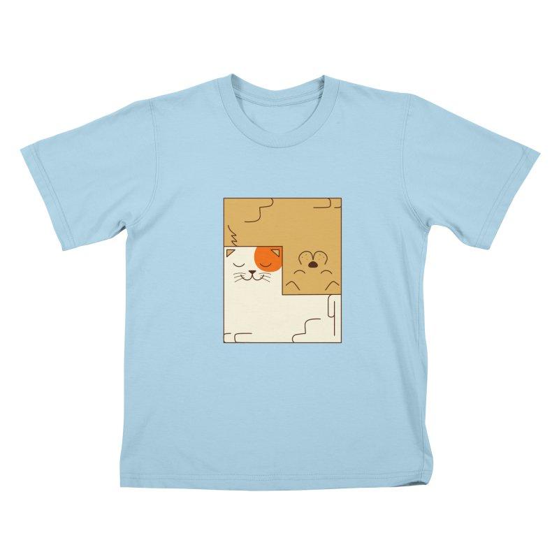 Cat and Dog Kids T-Shirt by coffeeman's Artist Shop