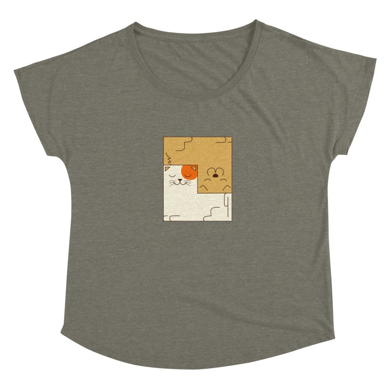 Cat and Dog Women's Dolman Scoop Neck by coffeeman's Artist Shop