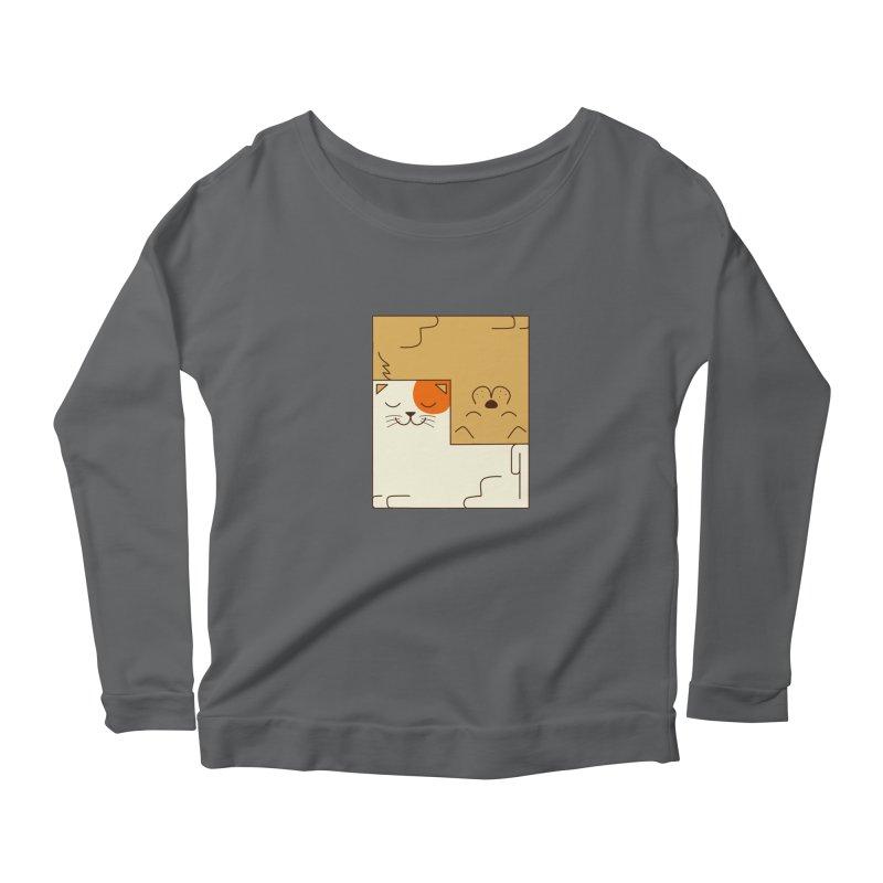 Cat and Dog Women's Scoop Neck Longsleeve T-Shirt by coffeeman's Artist Shop