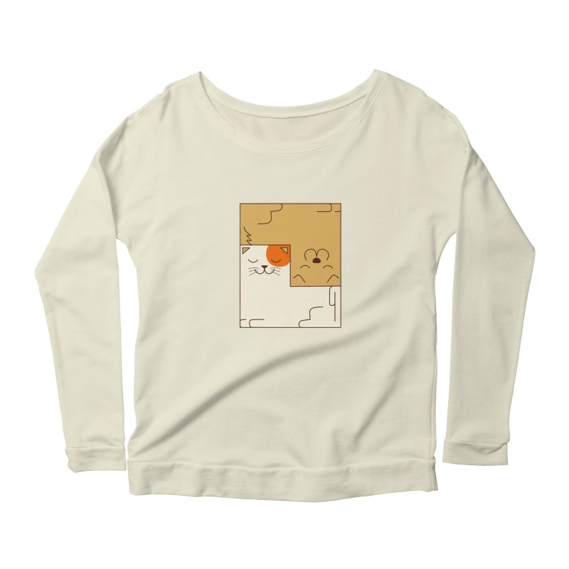 Cat and Dog Women's Scoop Neck Longsleeve T-Shirt by coffeeman's Artist Shop