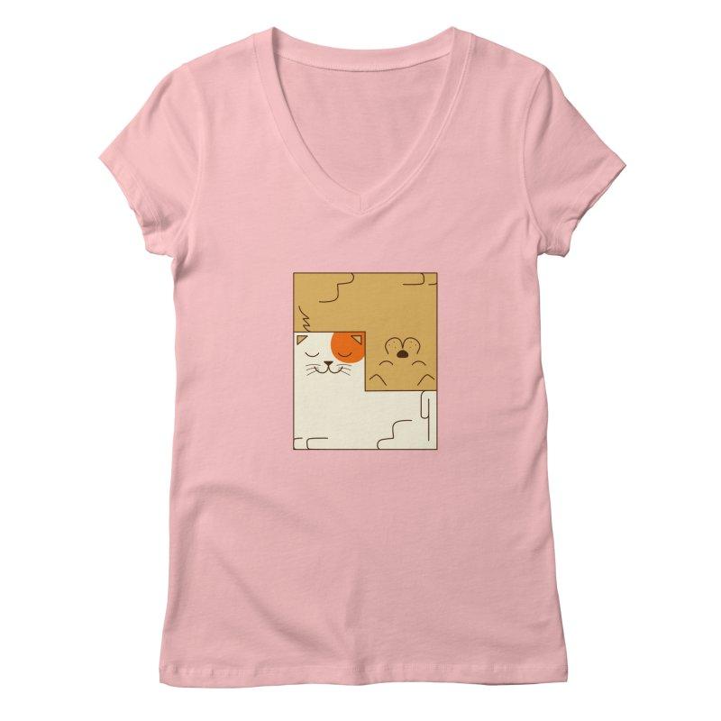 Cat and Dog Women's Regular V-Neck by coffeeman's Artist Shop