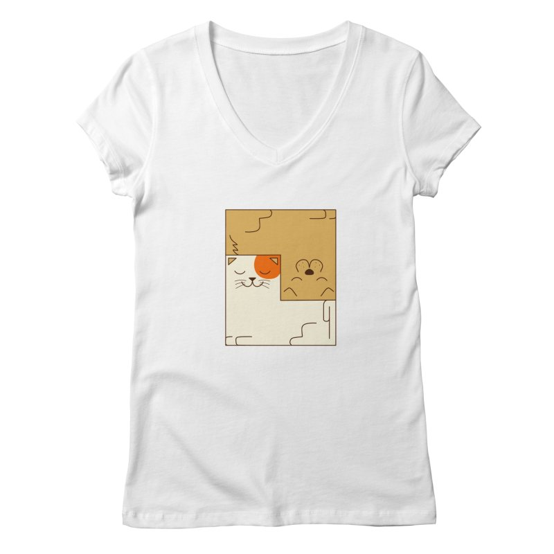 Cat and Dog Women's Regular V-Neck by coffeeman's Artist Shop