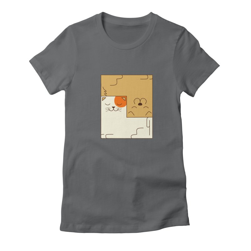 Cat and Dog Women's Fitted T-Shirt by coffeeman's Artist Shop