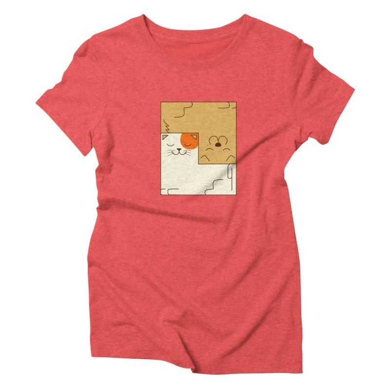 Cat and Dog Women's Triblend T-Shirt by coffeeman's Artist Shop