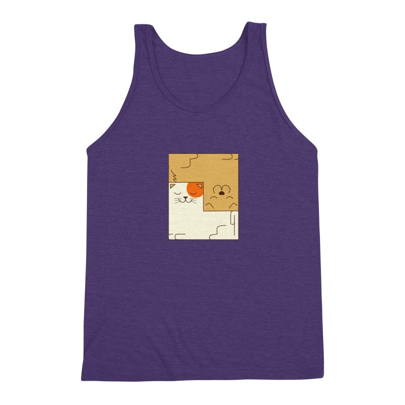Cat and Dog Men's Triblend Tank by coffeeman's Artist Shop