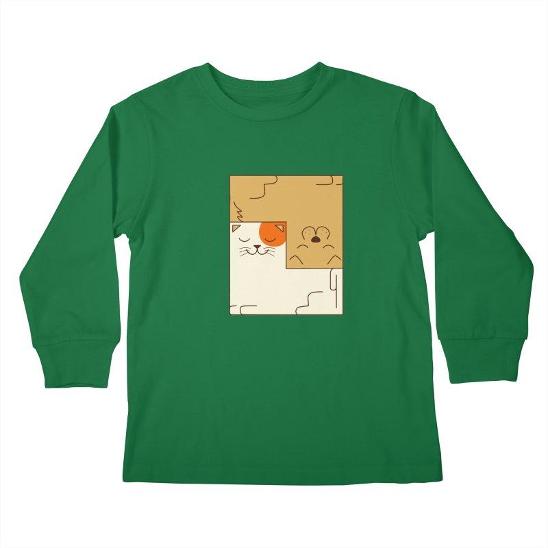 Cat and Dog Kids Longsleeve T-Shirt by coffeeman's Artist Shop