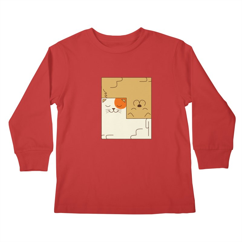 Cat and Dog Kids Longsleeve T-Shirt by coffeeman's Artist Shop