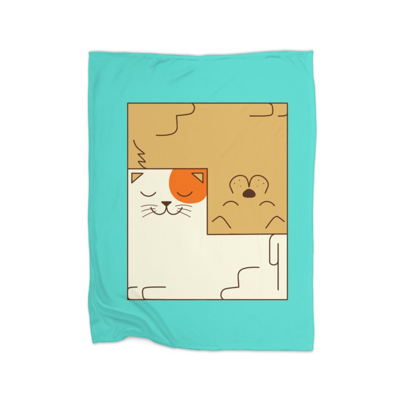 Cat and Dog Home Blanket by coffeeman's Artist Shop