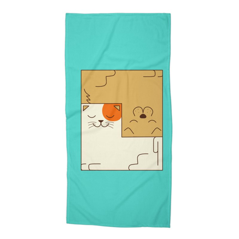Cat and Dog Accessories Beach Towel by coffeeman's Artist Shop