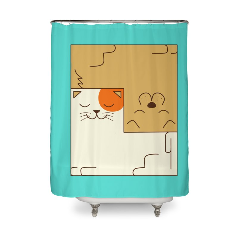 Cat and Dog Home Shower Curtain by coffeeman's Artist Shop