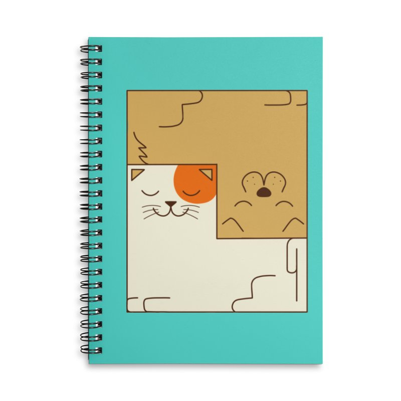 Cat and Dog Accessories Lined Spiral Notebook by coffeeman's Artist Shop