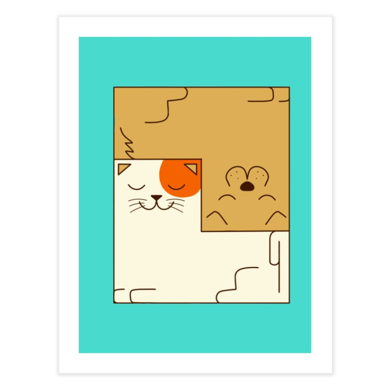 Cat and Dog Home Fine Art Print by coffeeman's Artist Shop