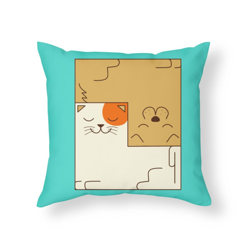 Cat and Dog Home Throw Pillow by coffeeman's Artist Shop