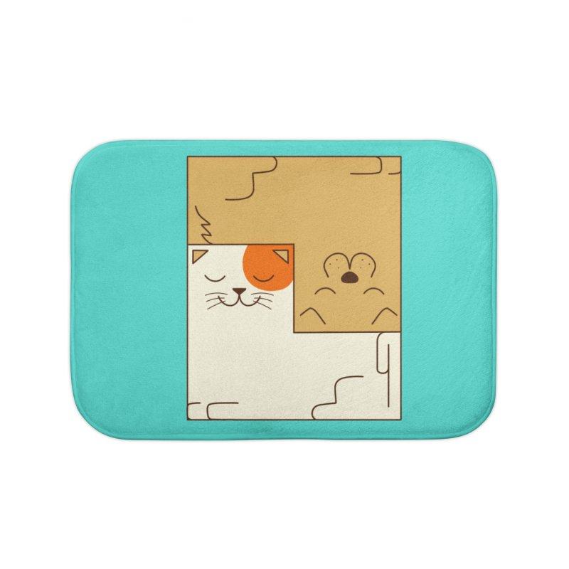 Cat and Dog Home Bath Mat by coffeeman's Artist Shop