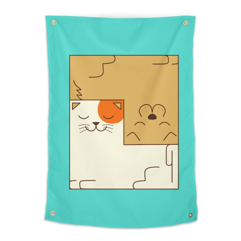 Cat and Dog Home Tapestry by coffeeman's Artist Shop