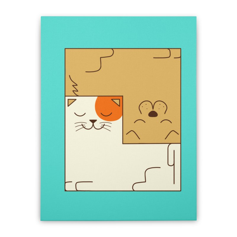 Cat and Dog Home Stretched Canvas by coffeeman's Artist Shop