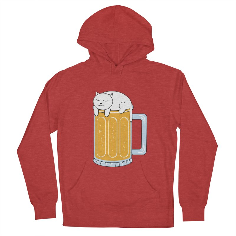 Cat beer Men's French Terry Pullover Hoody by coffeeman's Artist Shop