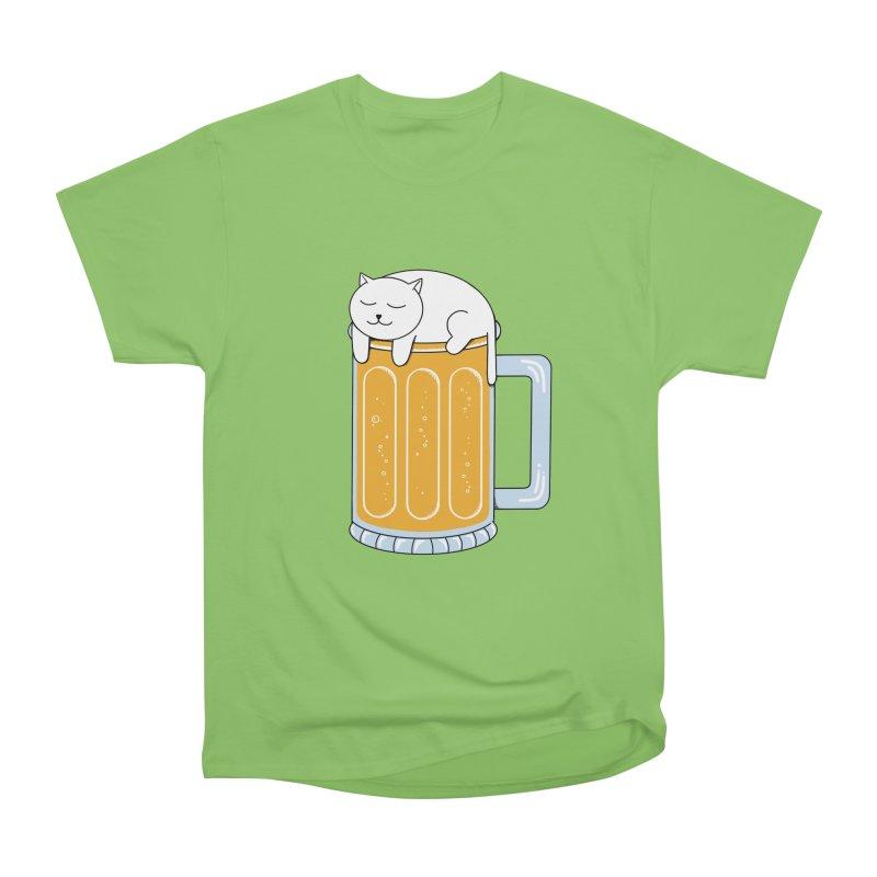 Cat beer Men's Heavyweight T-Shirt by coffeeman's Artist Shop