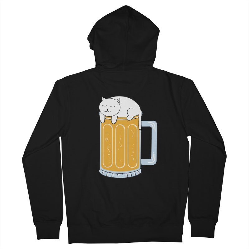 Cat beer Women's French Terry Zip-Up Hoody by coffeeman's Artist Shop