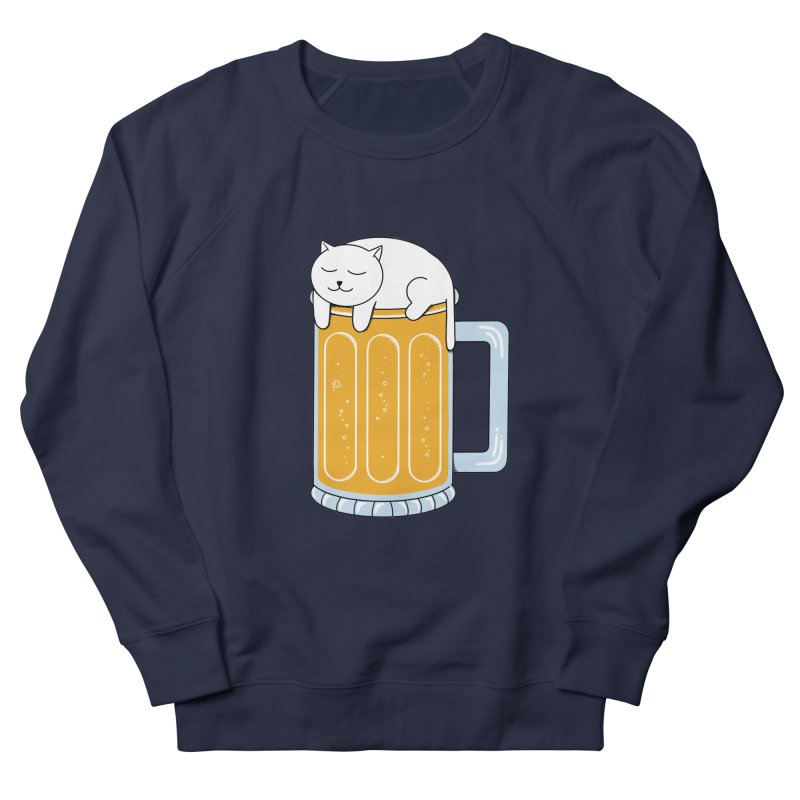 Cat beer Women's French Terry Sweatshirt by coffeeman's Artist Shop
