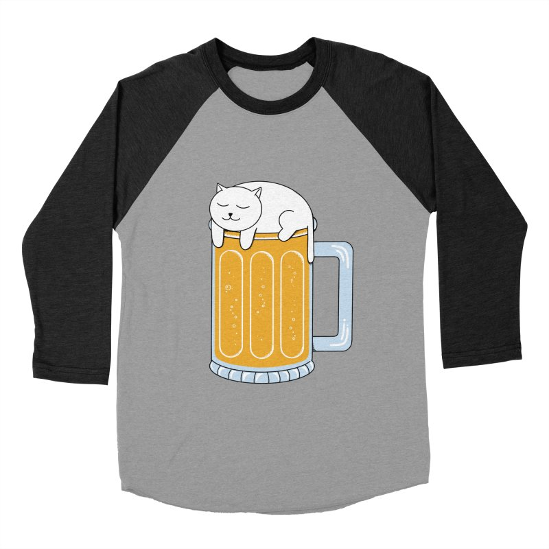Cat beer Men's Baseball Triblend Longsleeve T-Shirt by coffeeman's Artist Shop