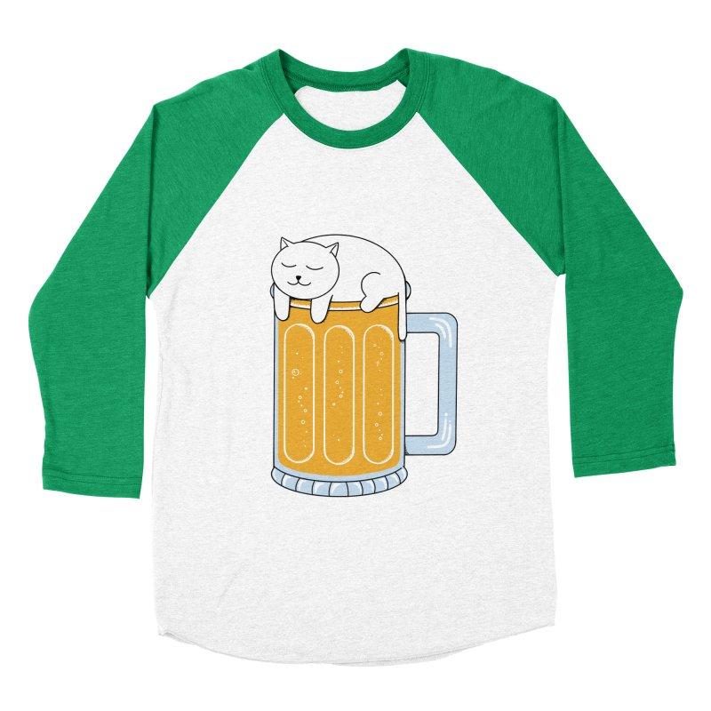 Cat beer Men's Baseball Triblend Longsleeve T-Shirt by coffeeman's Artist Shop