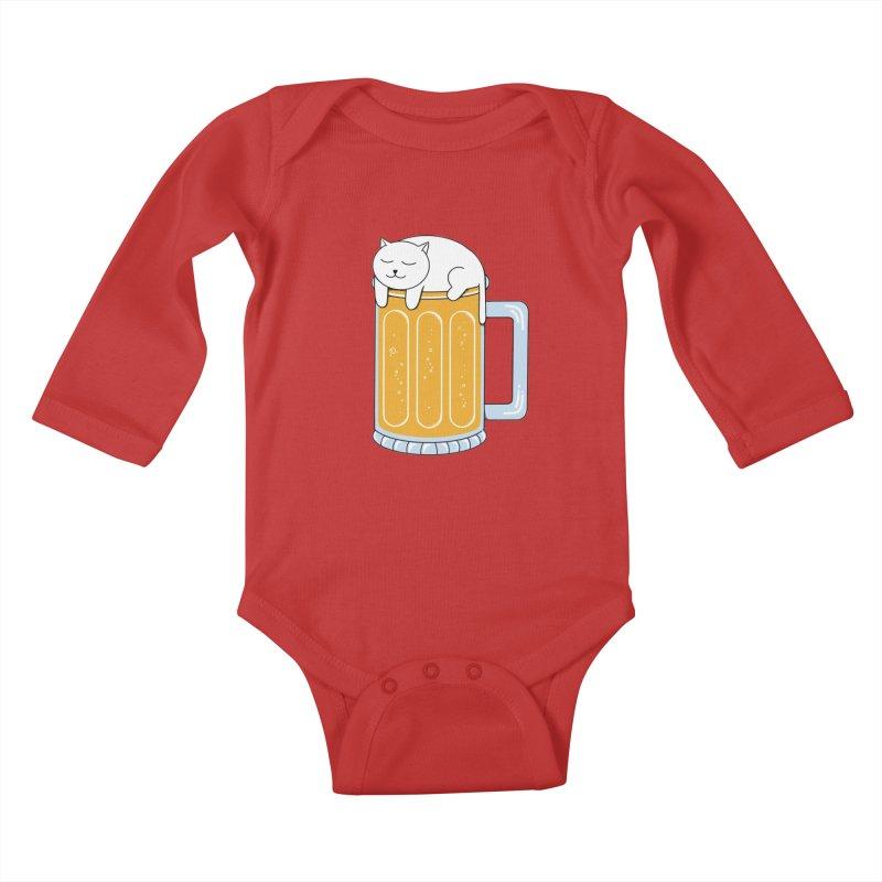 Cat beer Kids Baby Longsleeve Bodysuit by coffeeman's Artist Shop