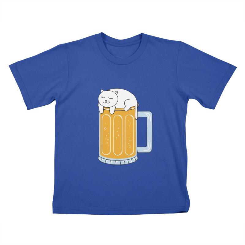 Cat beer Kids T-Shirt by coffeeman's Artist Shop
